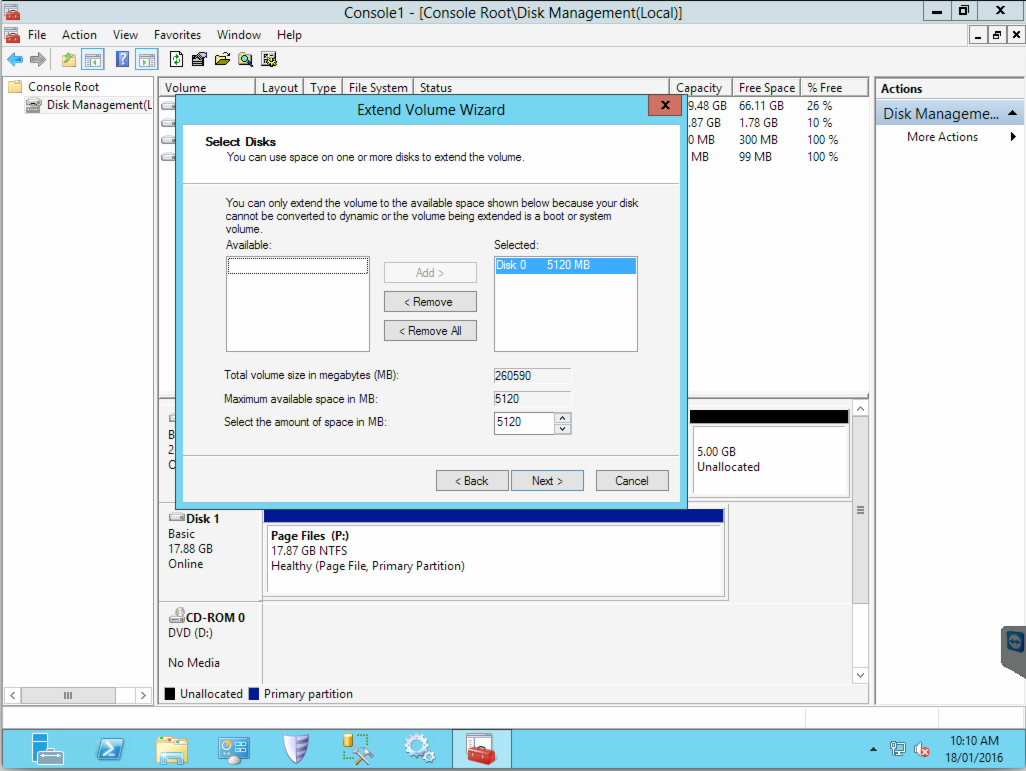 Extended disk size