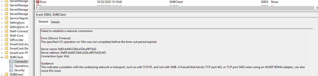 This indicates a problem with the underlying network or transport, such as with TCP/IP, and not with SMB. A firewall that blocks TCP port 445, or TCP port 5445 when using an iWARP RDMA adapter, can also cause this issue.